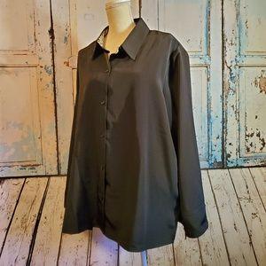 Susan Graver Style Black Top Plus Size 2X Zebra